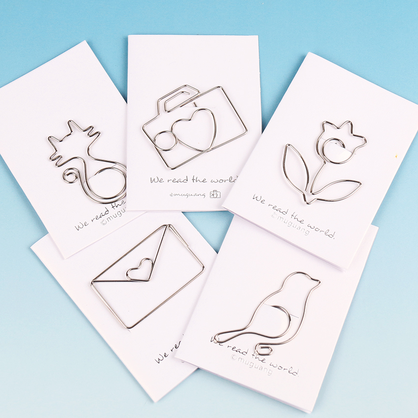 Cartoon Animal Cat Bird Flowers Shape Paper Clip Metal Clip For Books Stationery School Supplies Papelaria