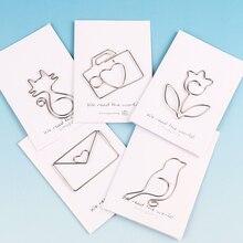5PCS Cartoon Animal Cat Bird Flowers Shape Paper Clip Metal for Books Stationery School Supplies Papelaria