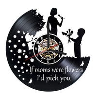 Happy Mother S Day 3D Record Clock Vinyl Record Room Wall Decor Round Hollow Creative Unique