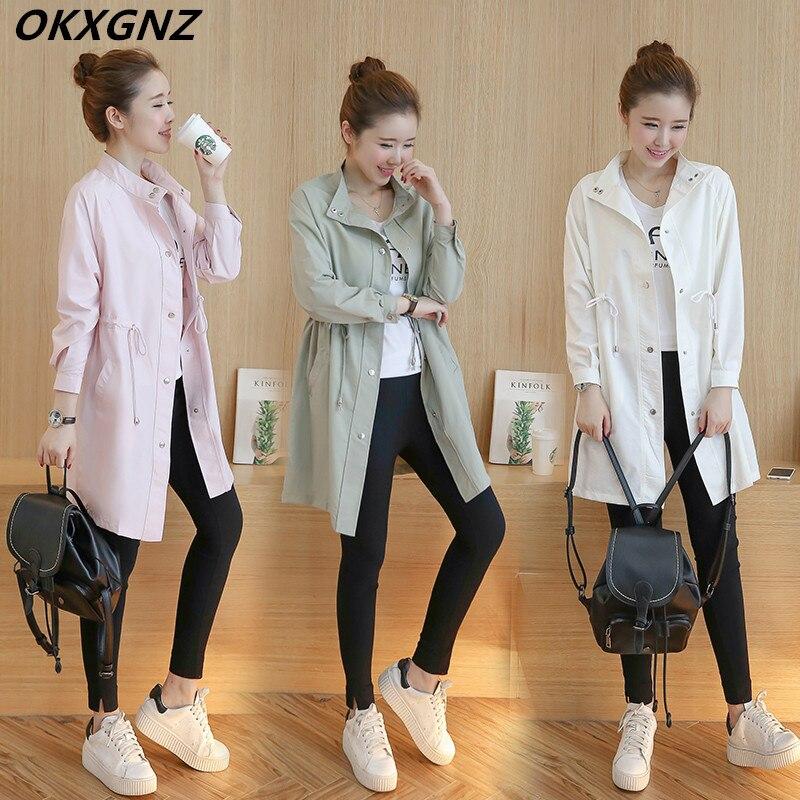 Windbreaker Coat Spring Slim-Collar Korean Long Plus-Size Fashion Women's Pull-Rope M-4XL