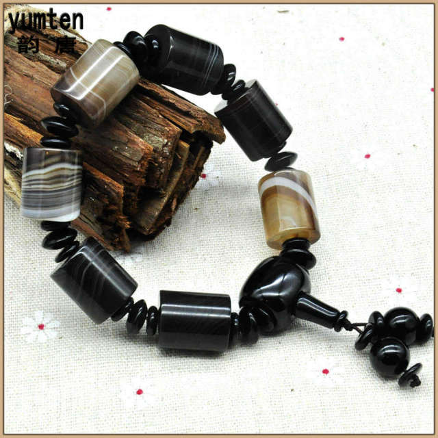 Agate Bracelet Barrel Beads Opal Gemstone Natural Amber Beads Aquamarine Natural Crystal Stone Love Pulseras De La Suerte Womens