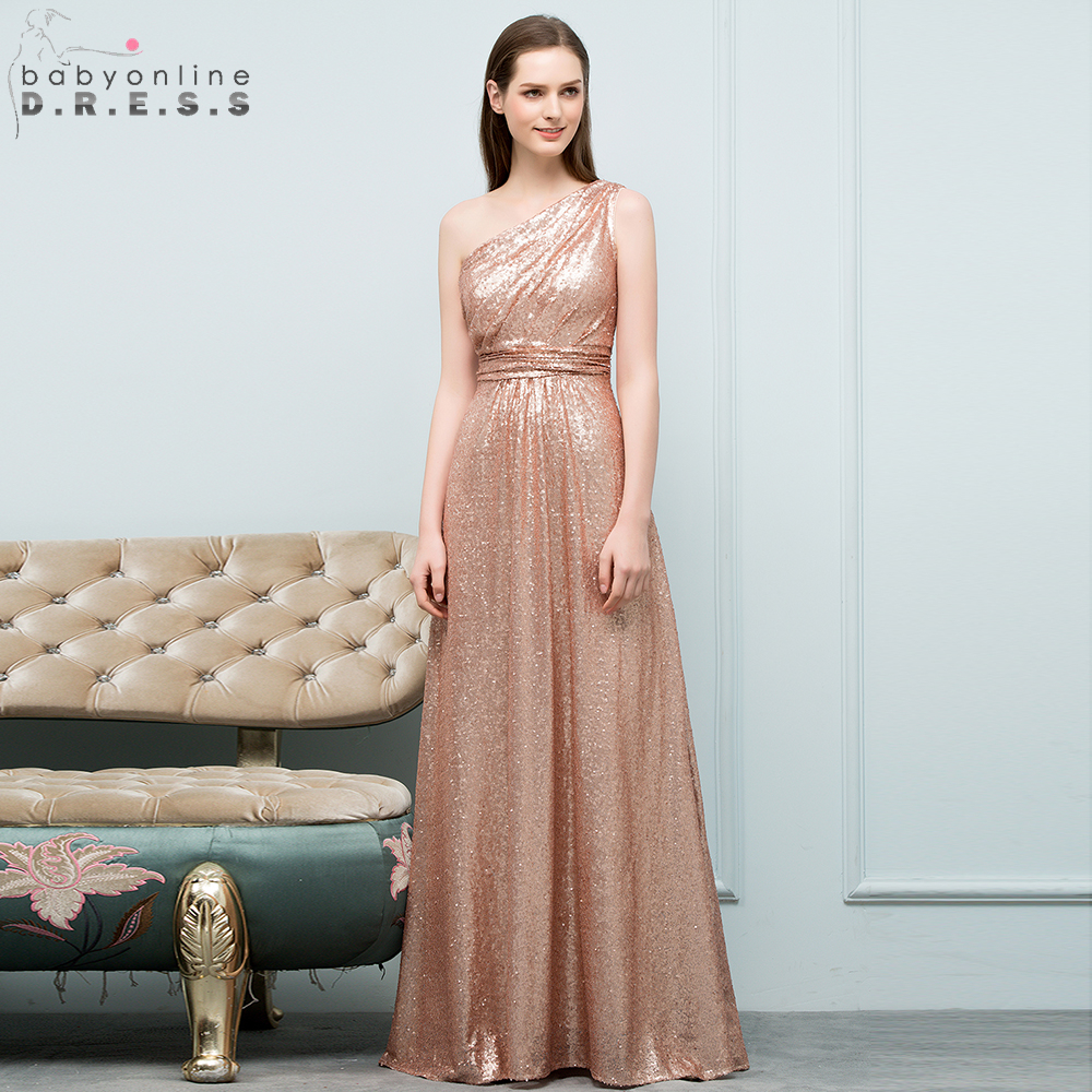 Babyonline One Shoulder Sequin   Bridesmaid     Dresses   Long Wedding Party   Dresses   2019 Women robe demoiselle d'honneur