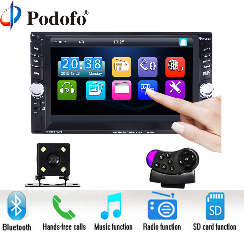 Podofo 2 Din 6.6 LCD Touch screen Car audio 12v auto radio player with bluetooth hands free rear view camera autoradio Stereo hot selling lamtop projector lamp ec jc200 001 for pn w10
