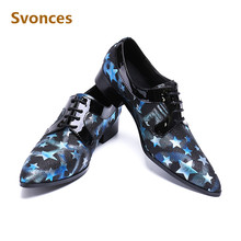 Genuine Leather Mens Dress Shoes Luxury Stars Retro pointed toe shoe