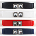 Mujeres Crystal Rhinestone Hebilla de Cinturón de Cuero de Imitación Elástico de Cintura Elástica Banda BLTLL0043