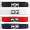 Women Crystal Rhinestone Buckle Stretchy Belt Faux Leather Elastic Waist Band   BLTLL0043