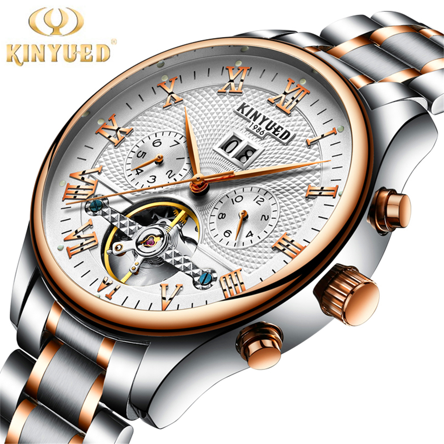 KINYUED Tourbillon Mechanical Watch Mens Skeleton Calendar Automatic Watch Men Stainless Steel Waterproof Mecanique Relogio kinyued brand men self wind waterproof stainless steel strap automatic mechanical male black dial fashion tourbillon watch