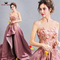 QUEEN BRIDAL Purple 2018 New Fashion Ball Gown Luxury Satin Flowers Lace Appliques Evening Dresses Prom Party Gown Dress DR25