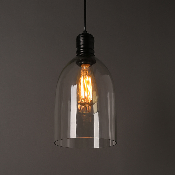 Vintage Hanging Glass Pendant Light Retro Industrial Clear Glass Bell Pendant Lamp Home Indoor Dining Room Antique Pendant Light