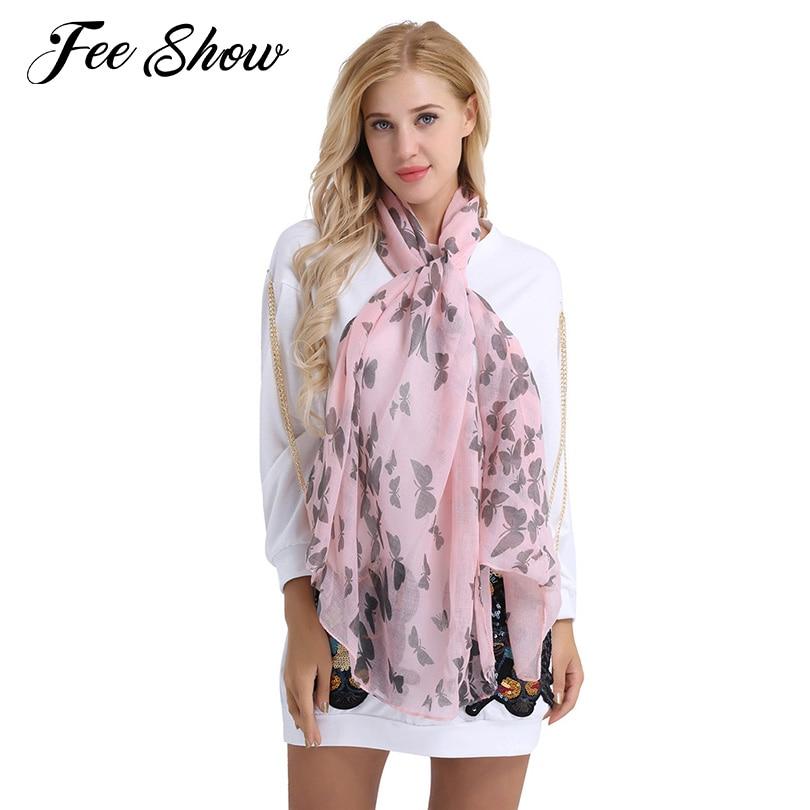 Fashionable Soft Lightweight Women Long Butterfly Print Pattern Shawl Scarf Warp Stole Elegant Butterfly Print Neck Wrap Scarf