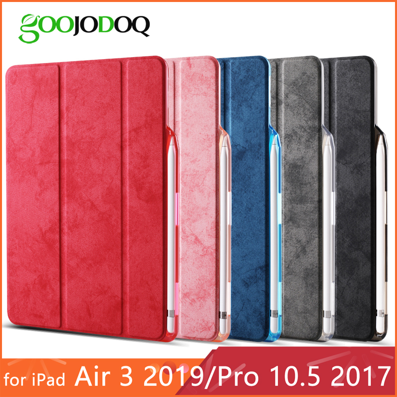 För iPad Pro 10.5 fodral med pennahållare, GOOJODOQ PU läder Soft Back Funda Smart Cover för iPad Pro 10.5 / iPad Air 3 Case