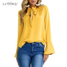 LOSSKY Autumn Women New Long Flare Sleeve Temperament Frenulum Ladies Blouse Irregular Solid Colours Ladies Tops Clothing Shirts