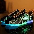 Chegada New Hot Moda Unissex Malha Fluorescente Sapatos Casuais Luminosas Único brilhante Plana Adulto Luz Até Sapatos Para Homens Adultos j06f