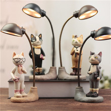 Cute Cat LED Night Light Resin Ornament Creative Table Lamp Home Decoration Furnishings Art Craft Gift