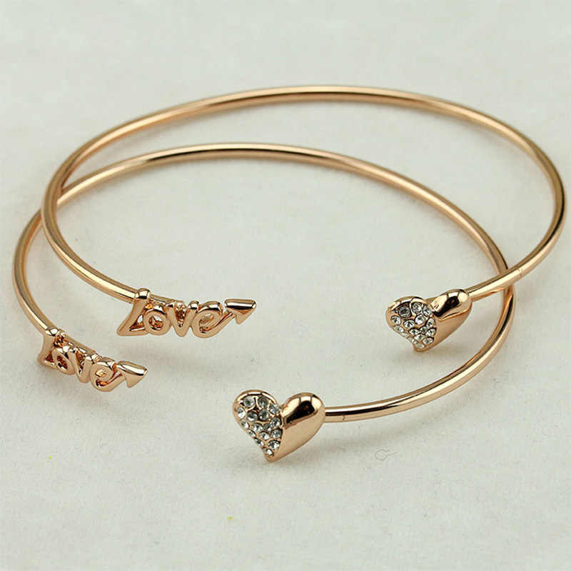 Vintage Silver Gold Color Adjustable Open Bangles Love Cuff Bracelet Crystal Heart Charm Cubic Zirconia Rhinestone Jewelry