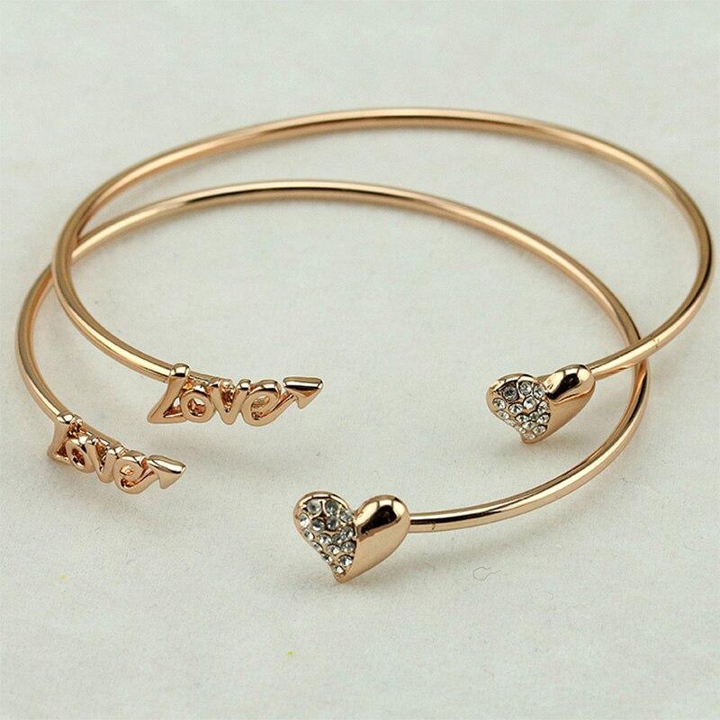 Vintage Silver Gold Color Adjustable Open Bangles Love
