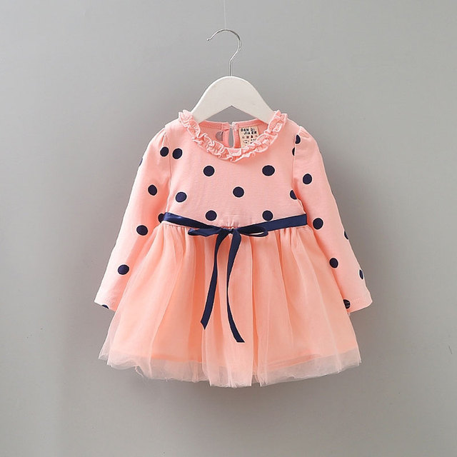 2017 Spring girl baby clothes cute dot tutu net dress for infant baby girls  clothing brand cotton princess party dresses dress 99da614a1