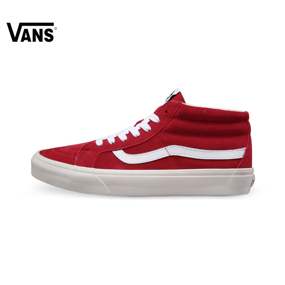 купить Original Vans Shoes Classic Men's Skateboarding Shoes Mid-high Genuine Leather Sports Shoes Lace-up Vans Sneakers for Men по цене 5491.7 рублей