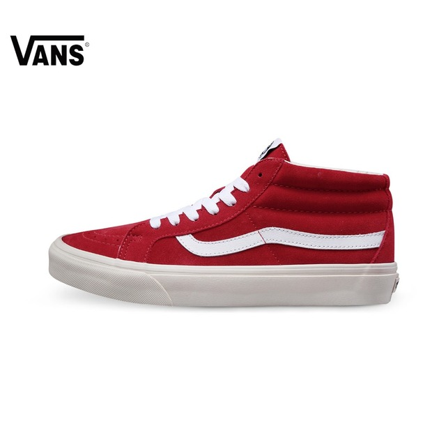 4f2b845fc7 Original Vans Shoes Classic Men s Skateboarding Shoes Mid high Genuine  Leather Sports Shoes Lace up Vans Sneakers for Men-in Skateboarding from  Sports ...