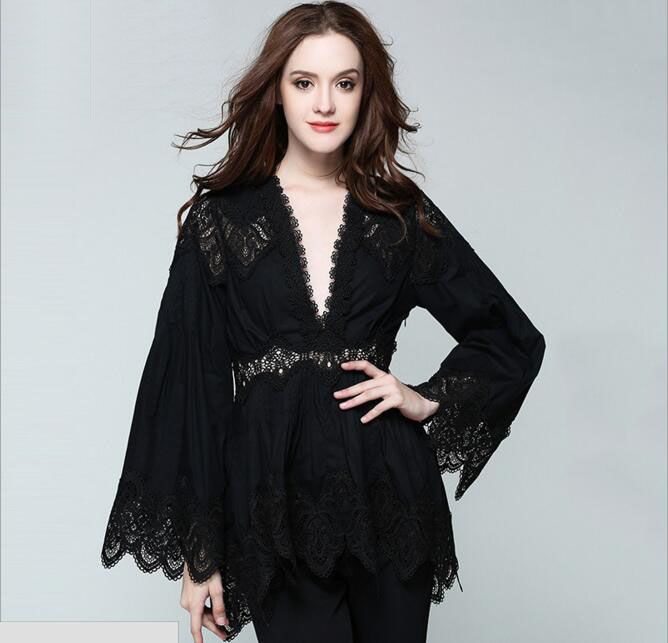 Sexy V-neck Hollow Out Embroidery Lace Party Shirt Blouses with Flare Sleeve Women Elegant Work Slim Shirt Tops
