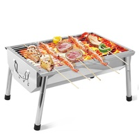 Portable Mini Barbecue Grill Rack Stainless Steel Folding BBQ Charcoal Stove Grate Kebab Machine For Outdoor Camping 1 3 People