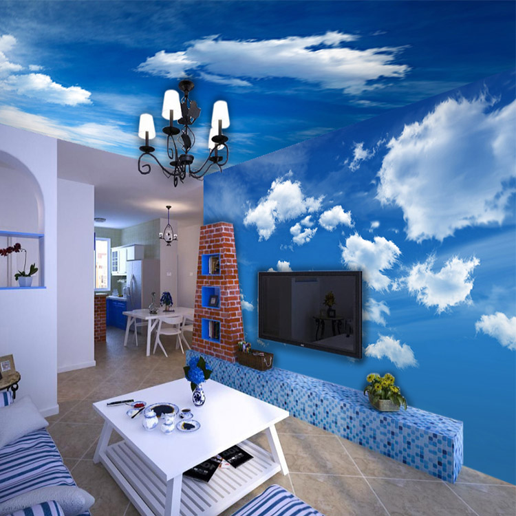 3D photo wallpaper Blue sky and white clouds ceiling wallpaper living room bedroom wallpaper mural 3d wallpaper custom mural non woven wall sticker 3d flowers and blue sky and white cloud ceiling murals wallpaper for walls 3d