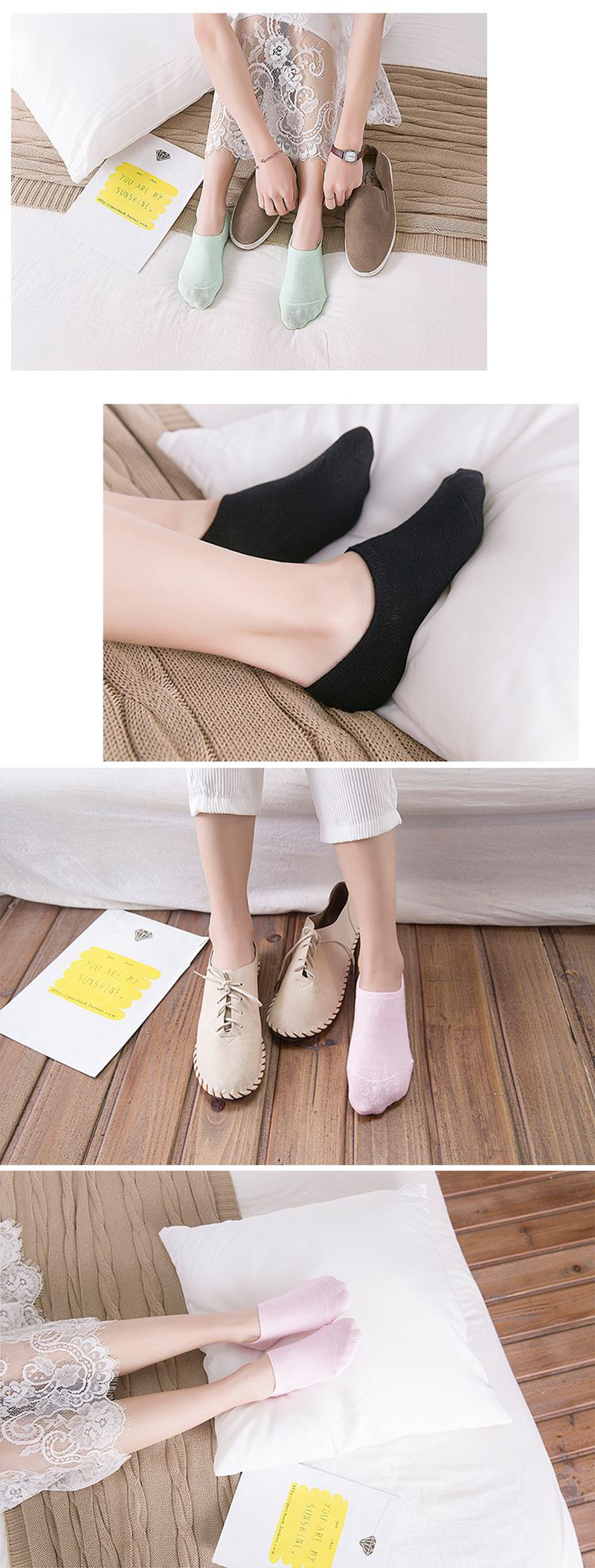 Comfortable cartoon ankle invisible women socks cute female men Ladies bamboo no show socks Hosiery Female 5pairs/lot 7