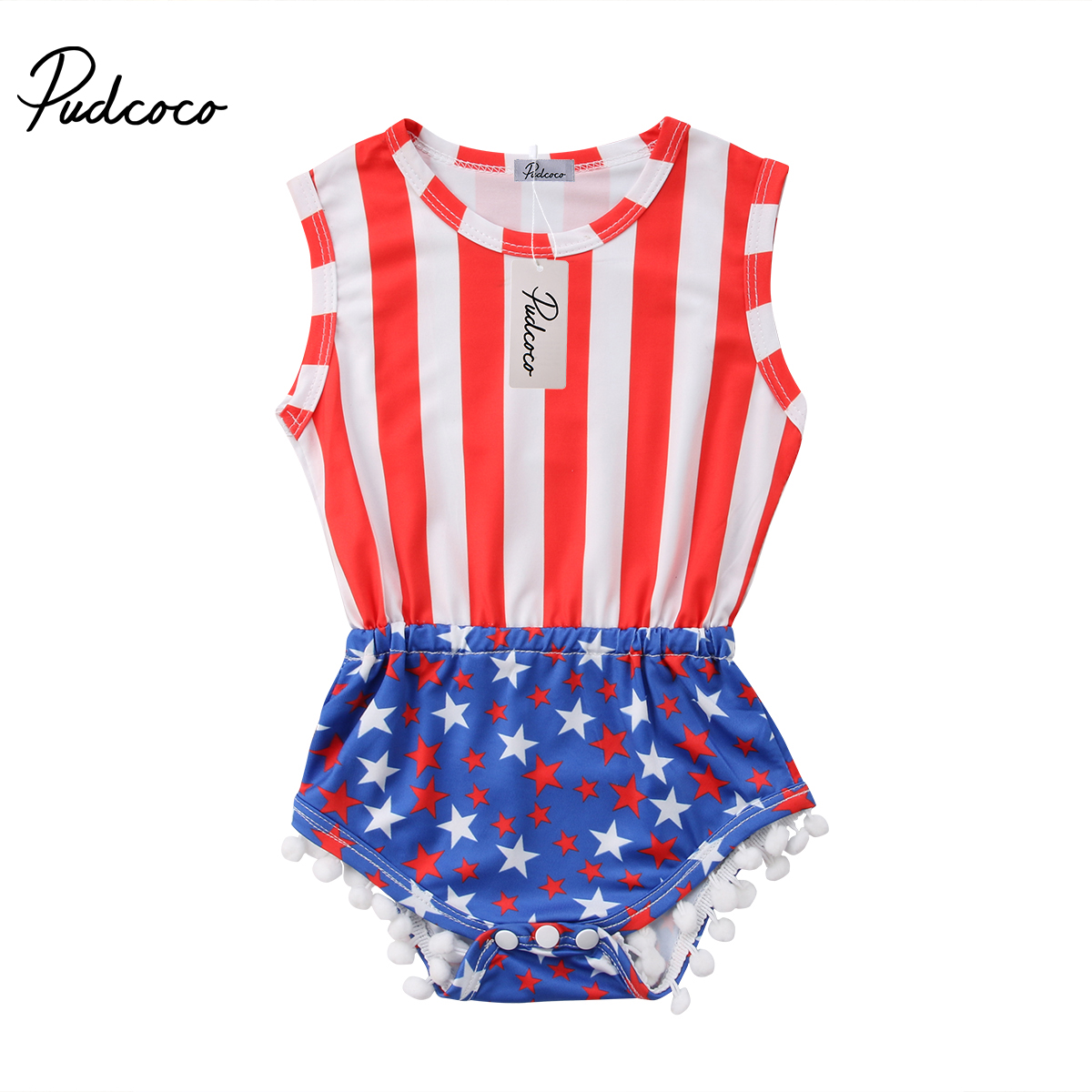 Newborn Baby Boy Girl Stripes Stars Tassel 4th of July Romper Playsuit Sunsuit Independence Day Clothes gentlemen style striped baby boy romper playsuit
