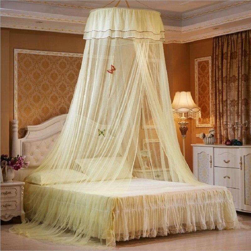 hung dome mosquitera para la muchacha europea doble con dosel cama dormitorio cortinas de encaje elegante