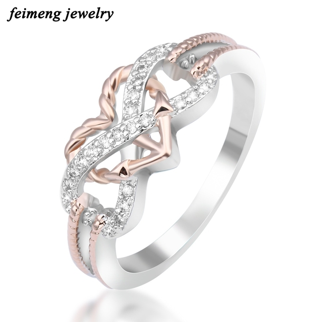 Charm Pink Heart With Unlimited Symbol Zircon Rings For Women