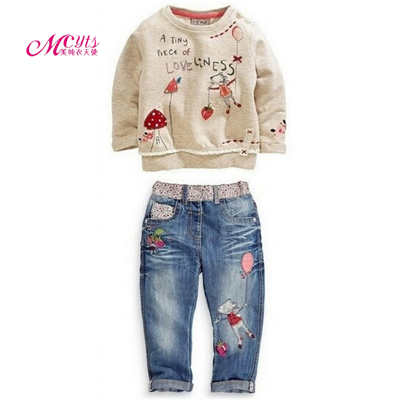 2017 Spring Autumn Children Clothing Cotton Long-Sleeved Cartoon Tops + Jeans 2 Pieces Baby Girls Tracksuit Set 2 3 4 5 6 Years sales size 100 spring autumn dress sets for girls christmas style red dress white cotton sleeved shirts tops 2 pc clothing