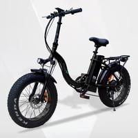 Vtuvia 48V 500W Motor Electric Bike 20 inch 4.0 Fat Wheel E bike Snow Mountain Folding Electric Bicycle with 12Ah Li ion Battery