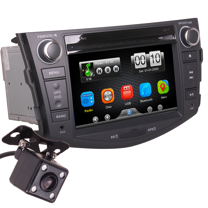2Din Car In Dash DVD Media Player Radio Bluetooth Head Unit Stereos with Reverse Camera for Toyota RAV4 2007 2011 (Without GPS)