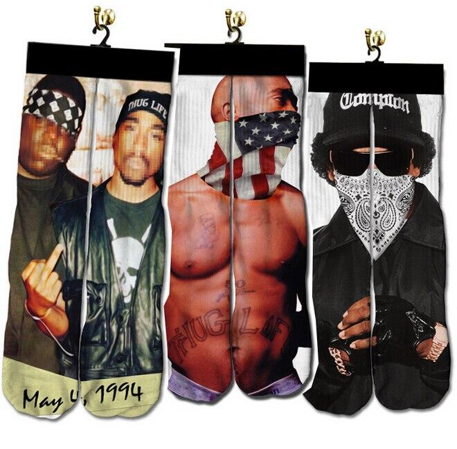 2016 hip hop men/women socks 3d printed gun/emoji/tiger/skull socks Unisex Cotton High funny Cartoon animal Socks calcetines