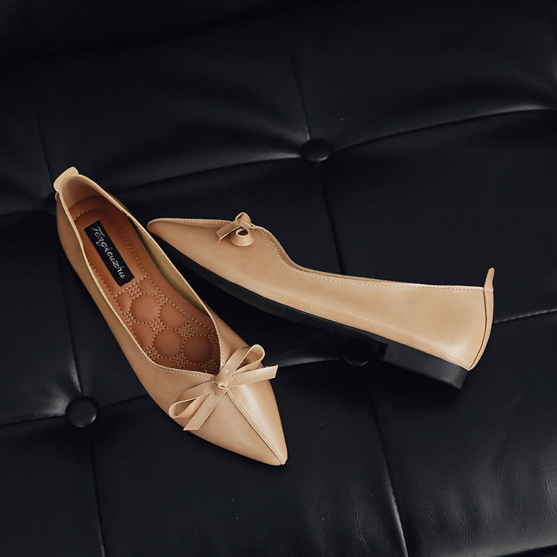 new women flats casual fashion shoes slop on pointed toe vintage for spring autumn solid office lady brown beige brand ruideng handmade higu quality elegant women shoes flats 2017 new autumn pointed toe flat heels solid slip on office lady shoes size41 42