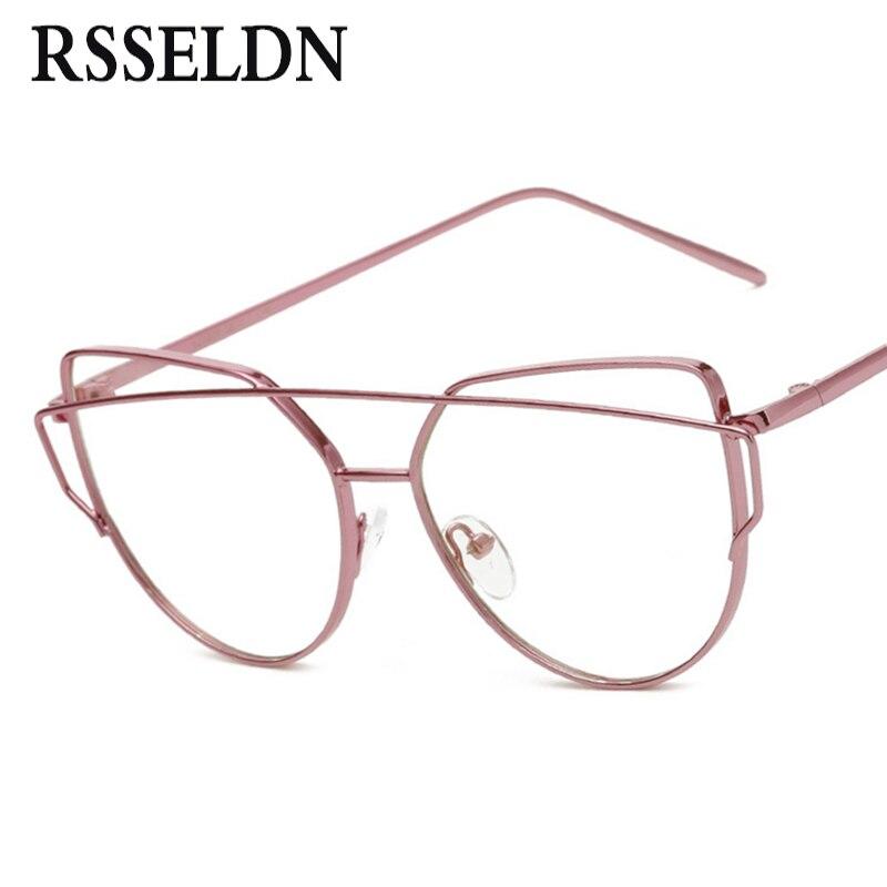 RSSELDN Newest Fashion Women Eyeglasses Frames Brand Designer Cat Eye  Glasses Clear Lens Eyeglasses Men Vintage UV400-in Eyewear Frames from  Men\'s ...