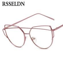 RSSELDN Newest Fashion Women Eyeglasses Frames Brand Designer Cat Eye Glasses Clear Lens Eyeglasses Men Vintage UV400