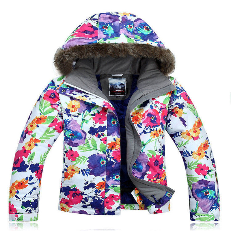 flower colorful Snow coat Woman Ski jacket 10K Waterproof Windproof Breathable Snowboarding jacket outdoor costumes high quality woman coat 90