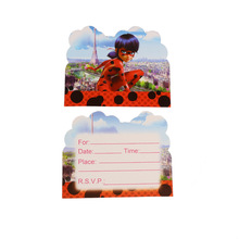 10pc/pack Kids Favors Miraculous Ladybug Theme Happy Birthday Party Girls Decoration Invitation Cards Baby Shower Event Supplies