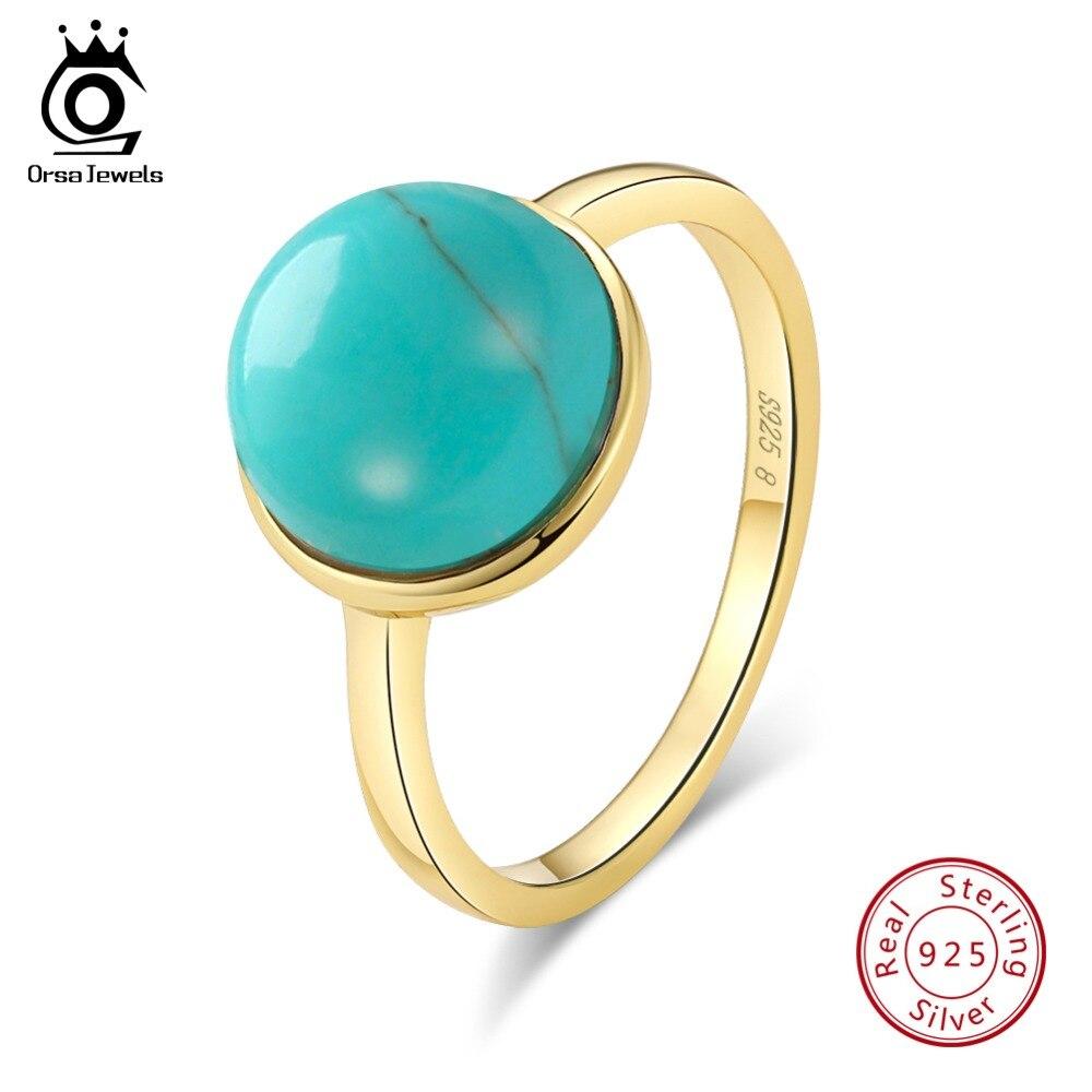 ORSA JUWELEN Echtem 925 Sterling Silber Ringe Für Frauen Natürliche Stein Türkisen Verkrustete Jahrestag Ring Mode Weibliche Schmuck SR69