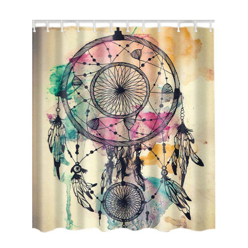 Graphic Print Shower Curtain Set Non Vinyl Bath Tub Liner Waterproof Fabric Mildew Resistant Material