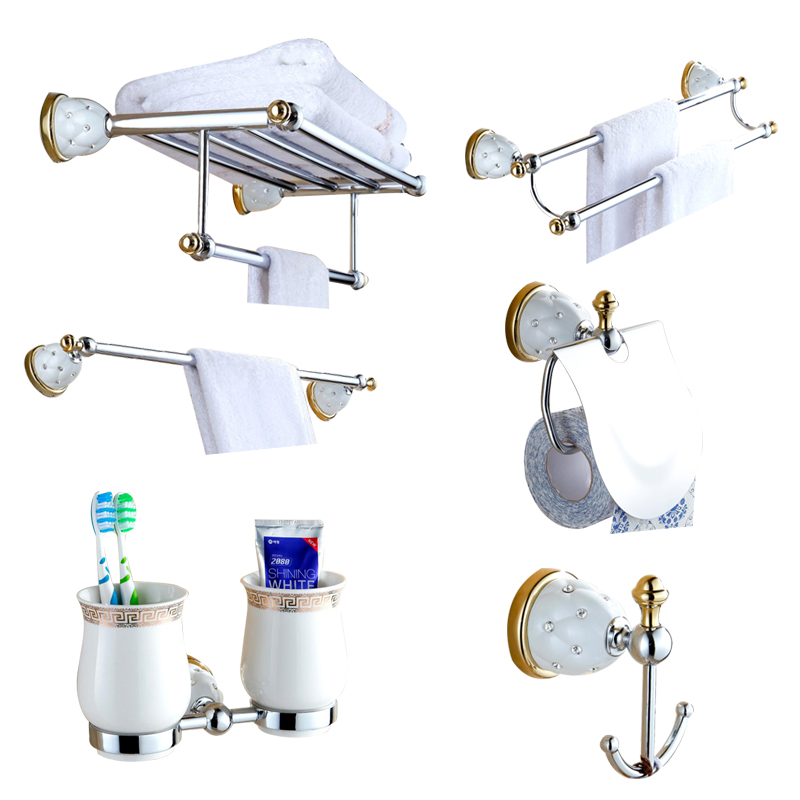 Us 16 5 25 Off Euorpe Antique Ceramic And Gold Crystal Bathroom Accessories Set Wall Towel Rack Plating Hardware Hanging Style Suit In Bath