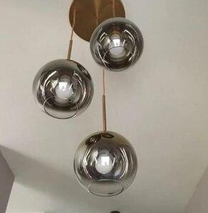 Image 5 - Conjunto de 3 lustre de teto, luminária suspensa moderna para teto, bolas de vidro, prata e dourado