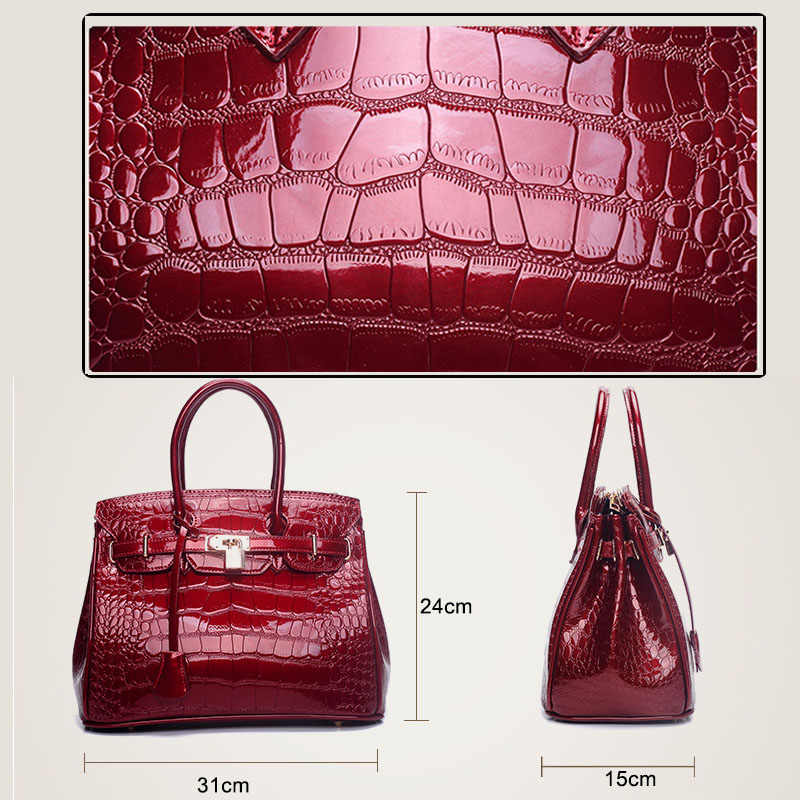 7c95cba1f17 ... 2019 Crocodile Women Tote Real Patent Leather Handbag Luxury Designer  Ladies Alligator bags Wine Red Black