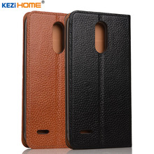 Чехол для LG K10 2017 kezihome личи Натуральная кожа флип Стенд кожаный чехол Капа для LG K10 2017 LV5 X400 M250 телефон случаях