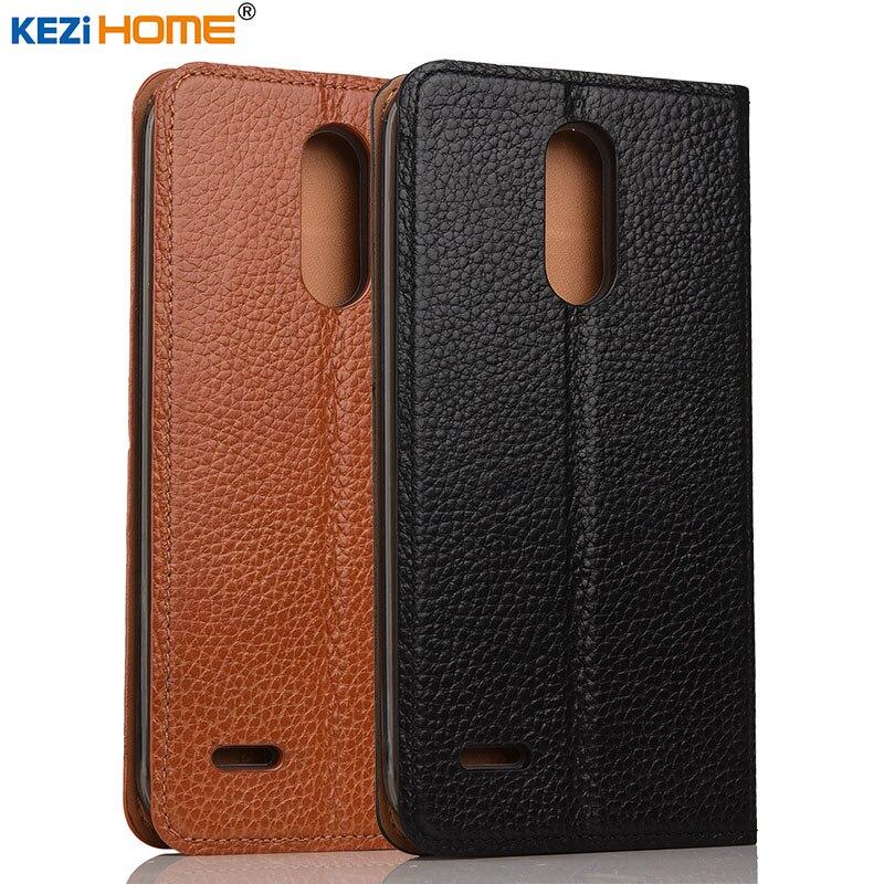 imágenes para Caso para LG K10 2017 KEZiHOME Litchi Soporte Del Tirón Del Cuero Genuino Cubierta de cuero de la capa Para LG Teléfono K10 2017 LV5 X400 M250 casos