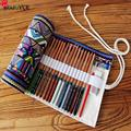 New Hot! 36/48/72 Ethnic Wind Professional Cosmetic Brush Bag Canvas Roll Foldable Bag Pencil Case School Stationery Supplies