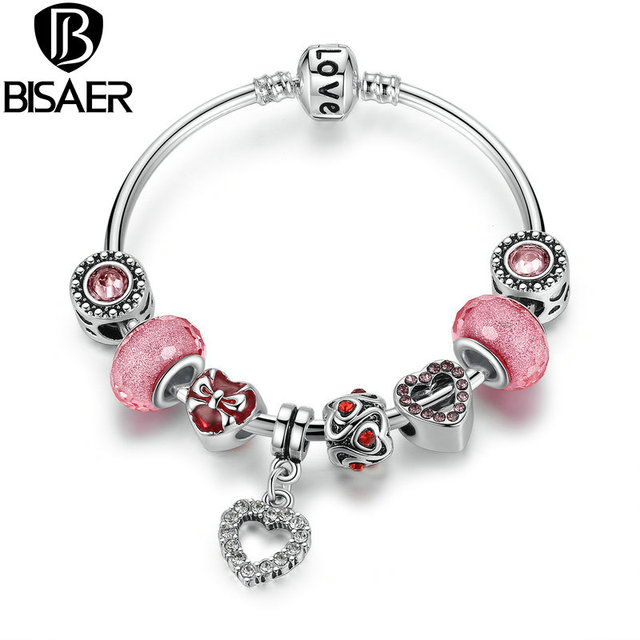 Female Bracelet Silver Pink Heart Charms Bangles & Bracelets with Glass Beads Love Chain for Teenagers Gifts WEU3083