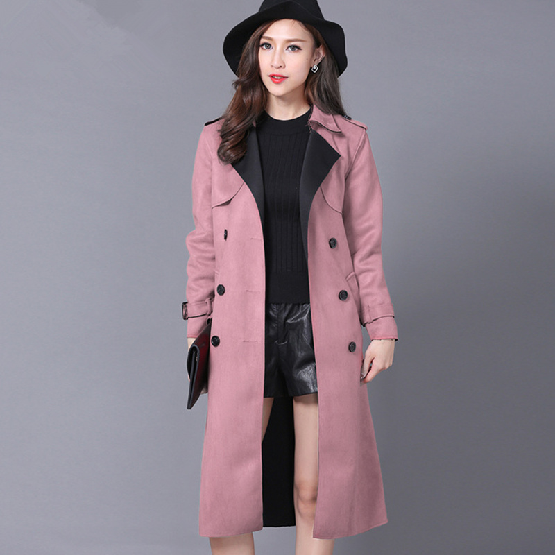 Plus Size 6XL Suede Trench Coat For Women New Spring Double Breasted Trench Coat Long Overcoat Windbreaker Elegant Outwear C4057