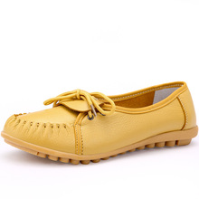 Women Shoes Flat 100% Authentic Leather Round toe Lace up Ladies Shoes Flats Woman Moccasins Female Footwear 2017